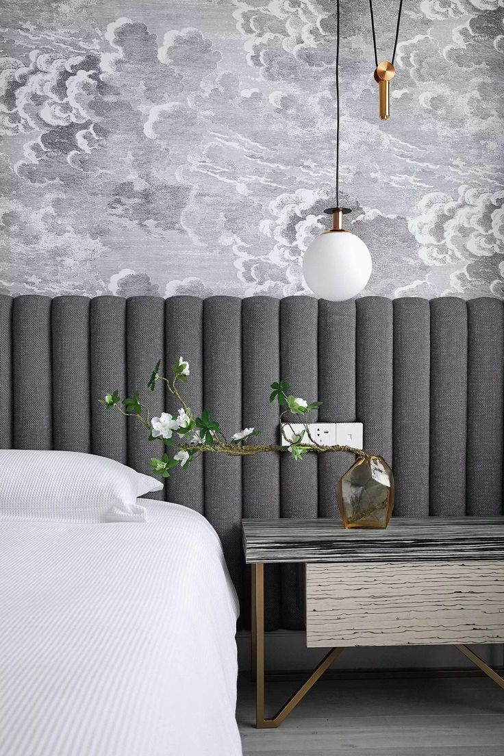 Cole and Sons Wallpaper,  Channel-tufted elongated headboard, monochrome bedroom palette