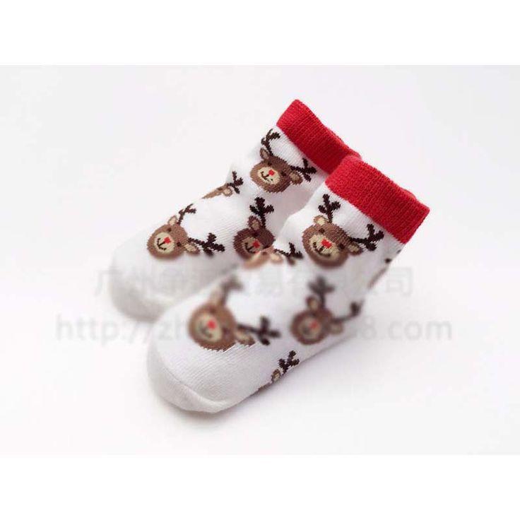 Оленей унисекс новорожденных / / малыша мальчик девочка свободного покроя носки хлопок / анти-слип / толщиной теплая зима рождество рудольф носки 0 - 12 м