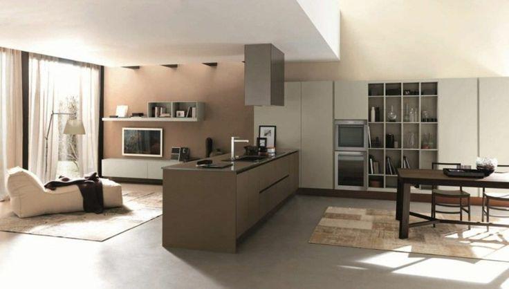 Die Kochinsel der Primavera Gold dient perfekt als Raumteiler zum - durchreiche kuche wohnzimmer modern