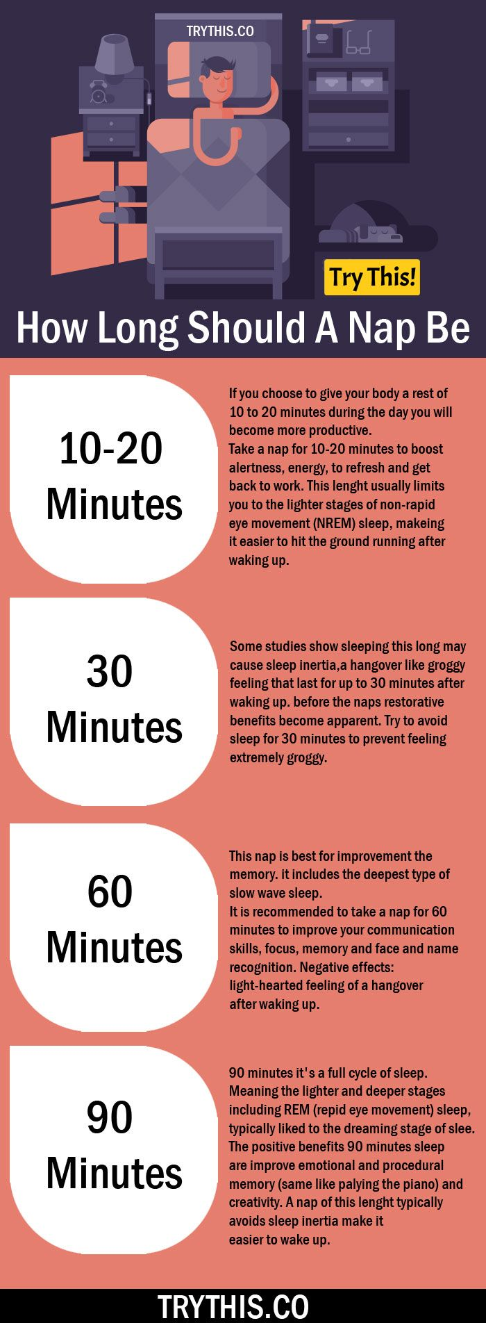 Naps. What's a good length to feel refreshed? A helpful Infographic.