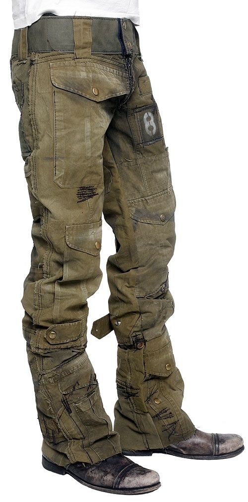 Junker Designs   post apocalyptic pants with random stitching and stenciling: