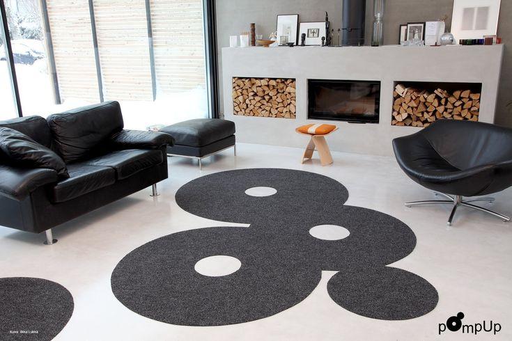 AO-alloverin matto pOmpUp Original hurmaa hauskalla muotoilullaan #designfromfinland #aoallover #sinivalkoinenvalinta