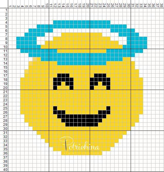 emoticons angel - emoticons faccia d'angelo - schema punto croce - cross Stitch - Kreuzstich - Punto de Cruz