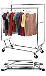 folds flat, rolls, just add a second bar to each side and you have TONS of hanging space