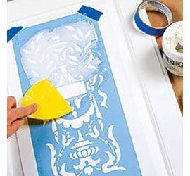 Raised stencil technique use on doors, furniture. Great site for other decor ideas