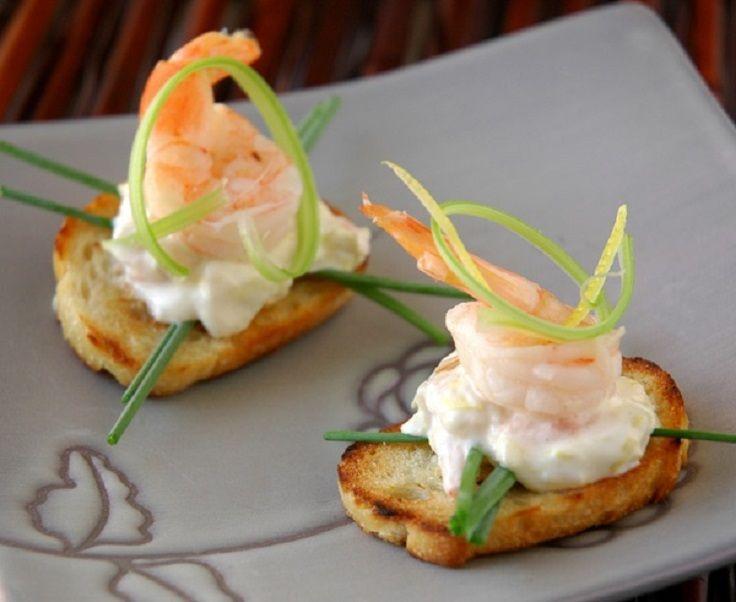 Top 10 Light Summer Appetizers: shrimp with summer fresh artichoke & asiago dip on crostini