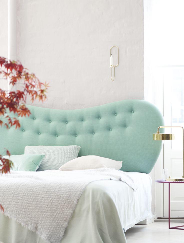 Pastel headboard in beautifull pastel bedroom  Pastel sengegavl i smukt pastel soveværelse Boton Finn sengegavl. www.boton.dk