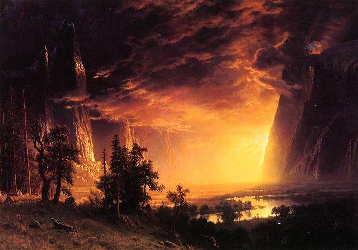 """Albert Bierstadt""""    Sunset in the Yosemite Valley"""", 1869"""