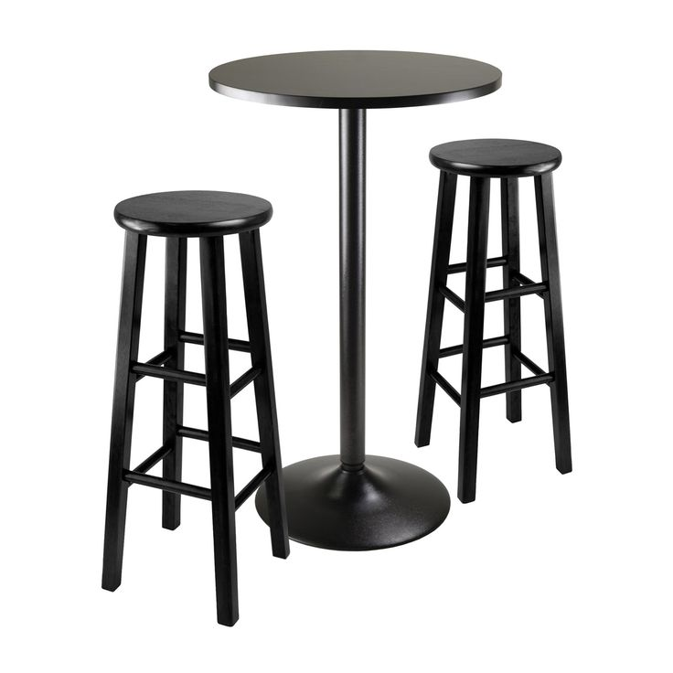 Winsome 20331 Obsidian 3 Piece Round Pub Table with 2 Stool in Black