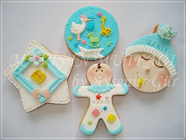 Renkli erkek bebek kurabiyeleri...