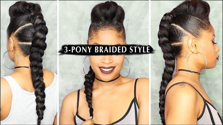 EDGY 3-PONY BRAIDED STYLE  | Tutorial [Video] - https://blackhairinformation.com/video-gallery/edgy-3-pony-braided-style-%f0%9f%94%a5-tutorial-video/