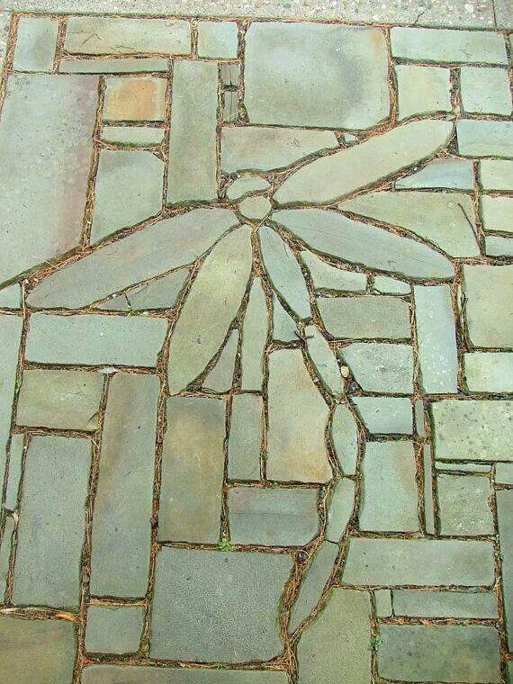 Stone Flowers Garden Art Hand Chipped Sandstone Dragonfly