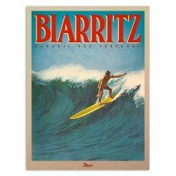 """Affiche Biarritz """"Paradis des Surfeurs"""""""