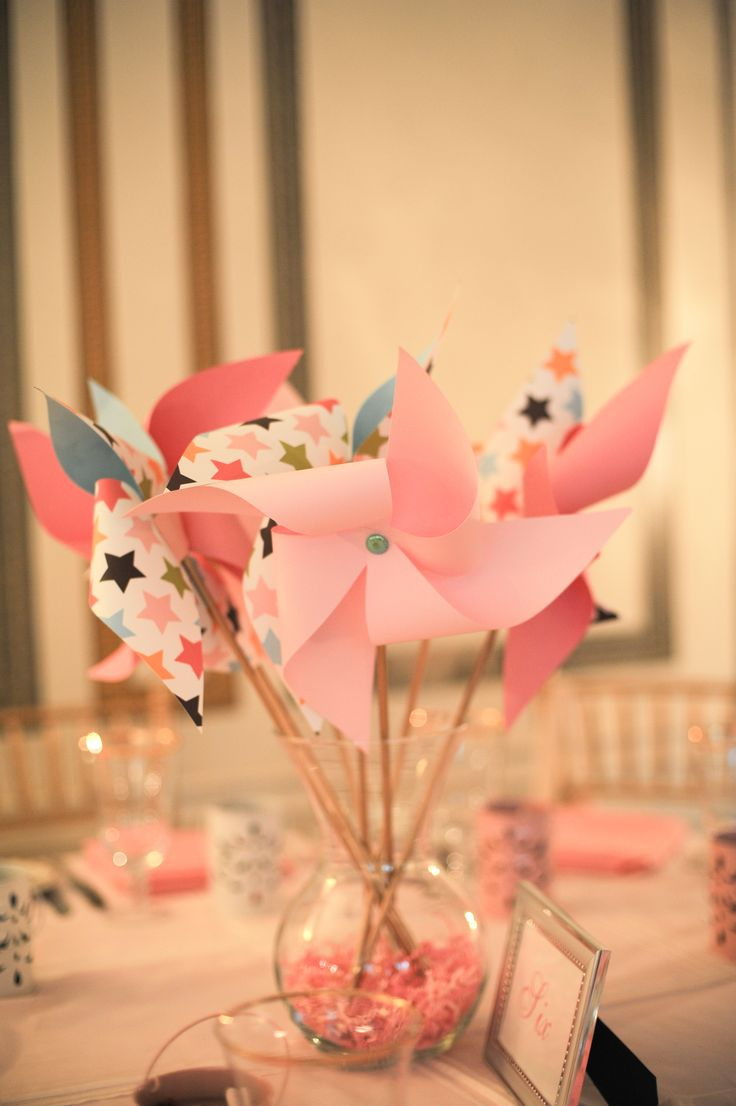 Pinwheel Centerpieces Add A Little Babies Breath And