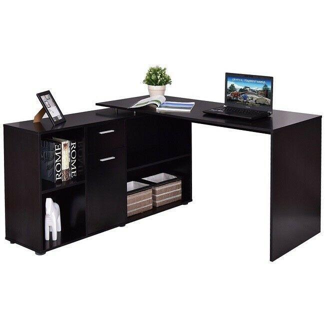 Black Corner Desk Rotating L Shaped Computer Writing Adjustable