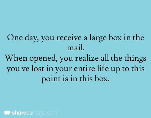 One day you receive a large box in the mail. When opened, you realize that all the things you've lost in your entire life up to this point is in the box.