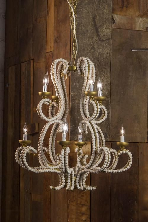7d9ababba462ce Vagabond Vintage Iron Chandelier with Whitewashed Wood Beads - Large ...