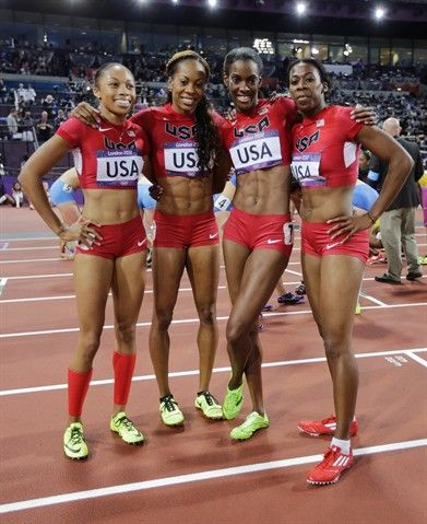 From left, United States' Allyson Felix, United States' Sanya Richards-Ross, United States' Deedee Trotter and United States' Francena McCorory. Women's 4x100