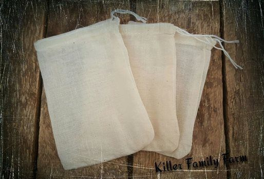"10 Re-useable unbleached Muslin Tea Bags ~ Make your own herbal teas ~ 3"" X 4""…  ..."