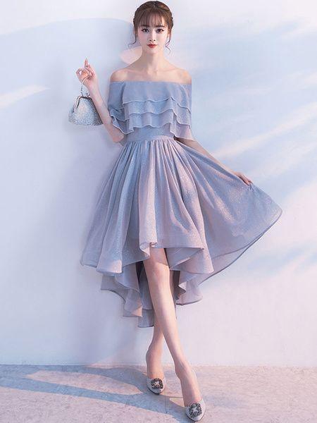 Short homecoming dress off the shoulder, half sleeve, ruffled cocktail dresses