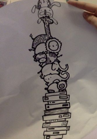 random little doodle on scrap paper of fat animals