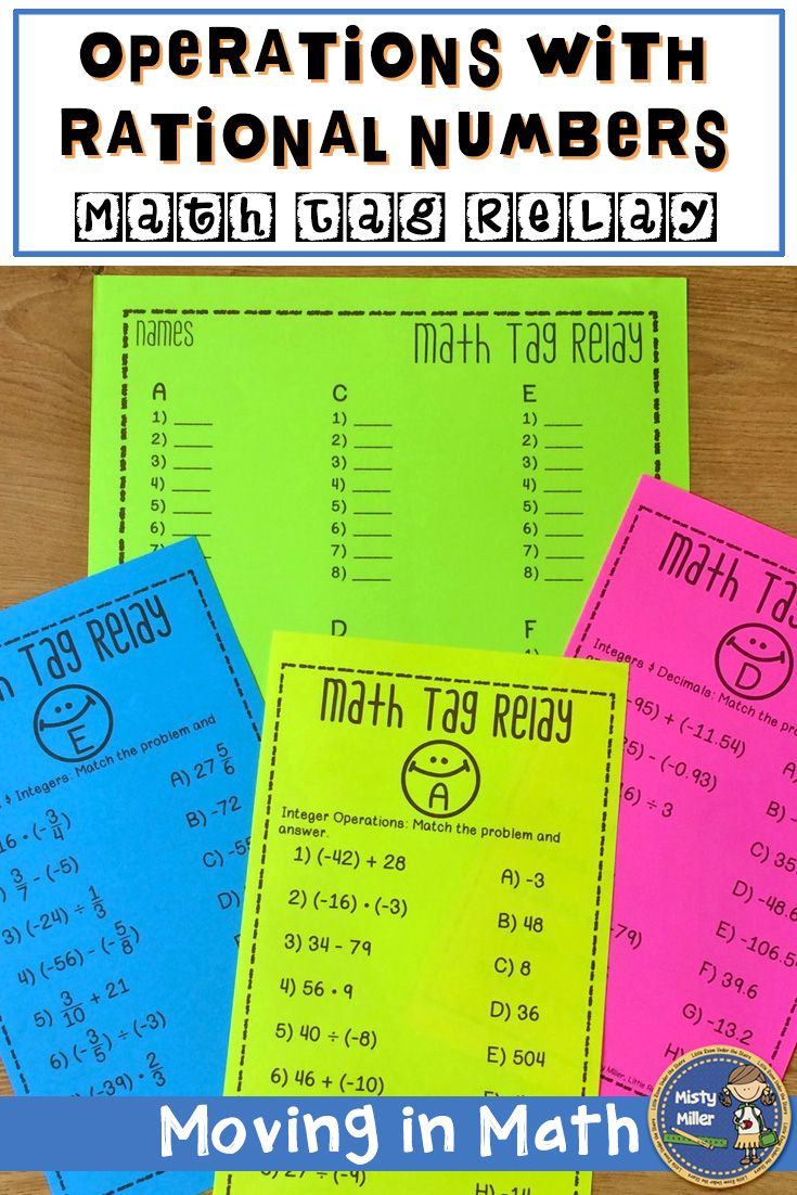 Rational Numbers Order of Operations Math Tag Relay