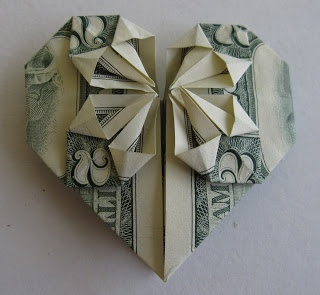 You never know when you might need money artfully folded into a heart. Great gift presentation. Heart-Shaped Origami   Three Wisdoms
