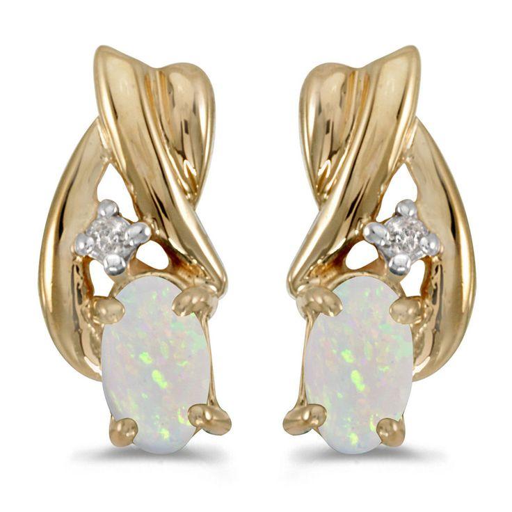 14k Gelbgold Oval Opal und Diamant Ohrringe   Uhren & Schmuck, Echtschmuck, Ohrschmuck   eBay!