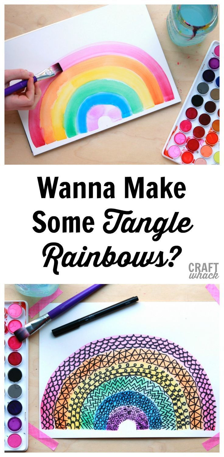 Do Yourself A Favor And Make A Tangle Rainbow Rainbow Art Kids