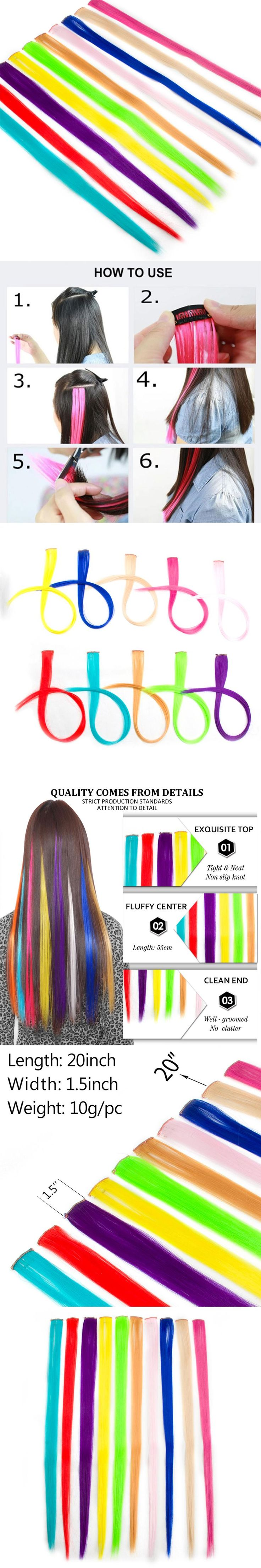 ELEGANT MUSES Long Straight Woman Clip In Hair Extensions 50Cm 20 Inch One Piece Synthetic Hair Extensions