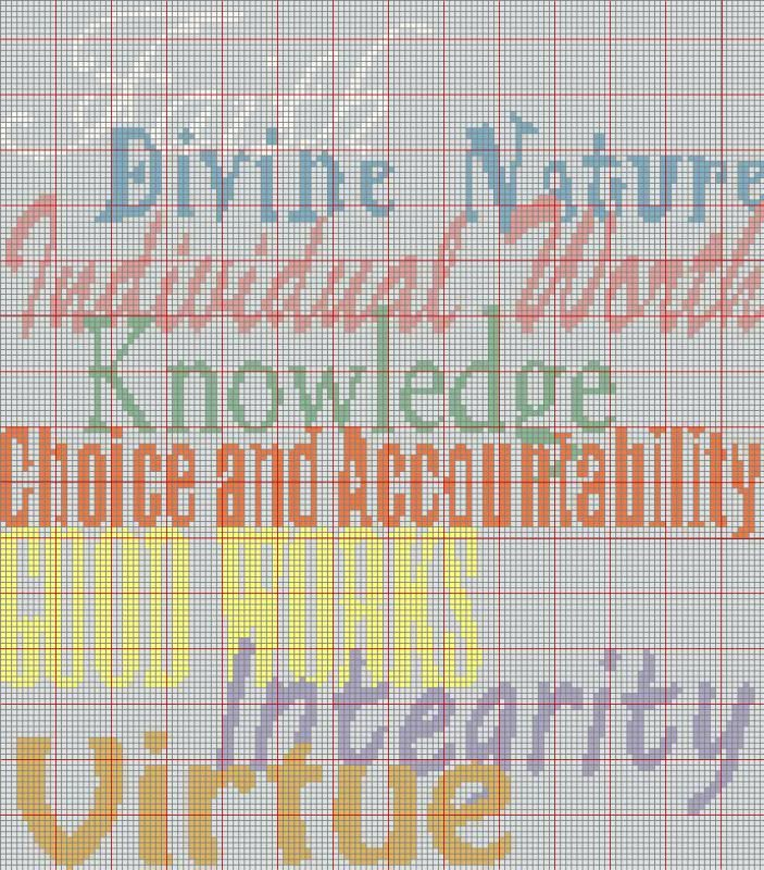 LDS Young Women Values Cross stitch or crochet chart |