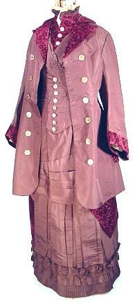 c. 1880 Museum Quality 3-Piece Dark Plum Taffeta and Embossed Deep Garnet Velvet Bustle Gown!: Velvet Outfits