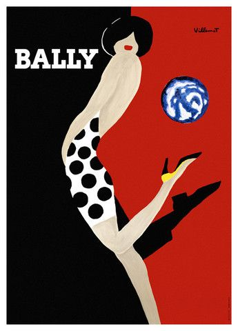 Bally Globe Vintage Poster Art Print Villemot NZ| Pop Motif