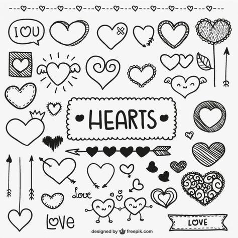 Doodle do coração dos namorados