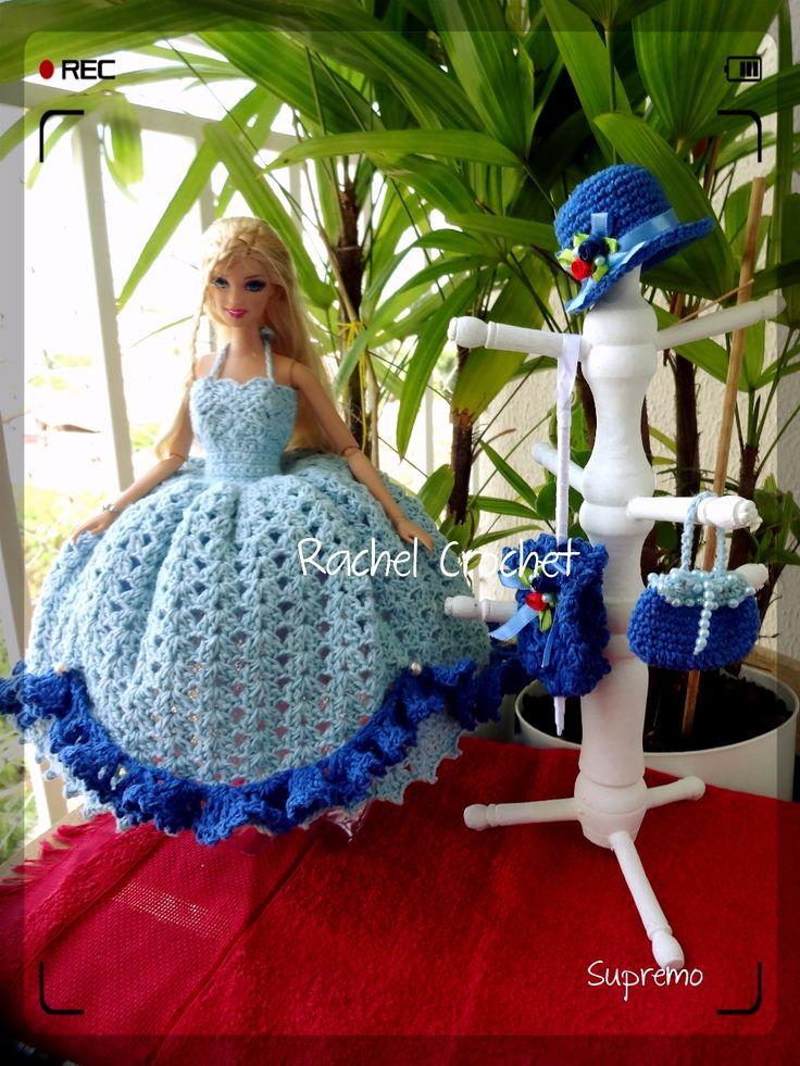 #Supremo #Doll #Crochet #Vestido #Dress #Barbie #Chapéu #Hat #RaquelGaucha #Bolsa #Purse #Acessórios #Muñeca