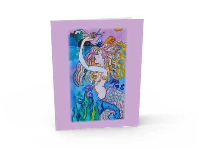 Mermaid with pearl necklace greeting card