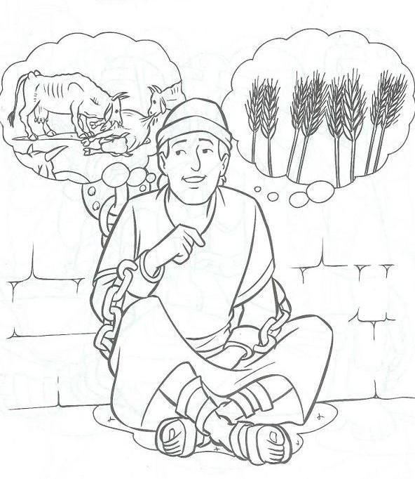God giving Joseph the interpretation of Pharaoh's dreams about the cows and the wheat. Bible coloring page