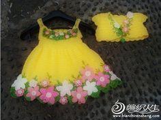 Set dress with bolero with decoration flowers, detailed workshop
