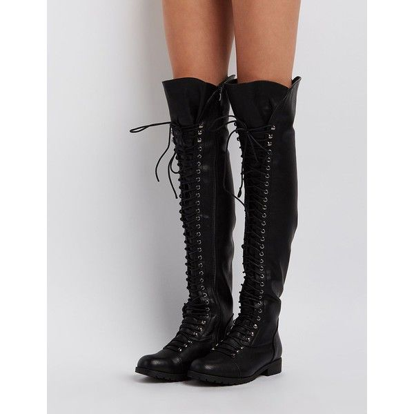 Charlotte Russe Over-The-Knee Combat Boots ($20) ❤ liked on Polyvore featuring shoes, boots, black, over the knee combat boots, army boots, over the knee thigh high boots, over knee boots and black army boots