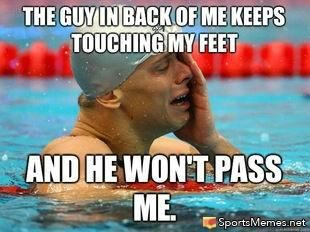Uggghhh ran into this problem all the damn time in practice! OR they would swim in the lane so you had to either just wait it out or swim under them to get by lol