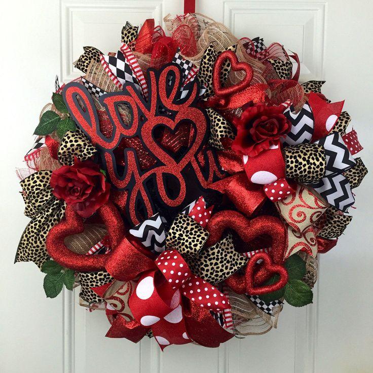Deco mesh Valentine's Wreath, I love you, Cheetah Valetine's Wreath, Valentine's Wreath, Valentine's Wreath with Roses, Heart Valentine's by RhondasCre8iveCorner on Etsy