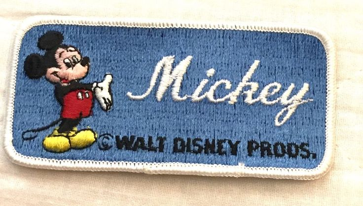 """Vintage Walt Disney Productions Mickey Mouse Embroidered Name Patch """"MICKEY"""" #Disney"""