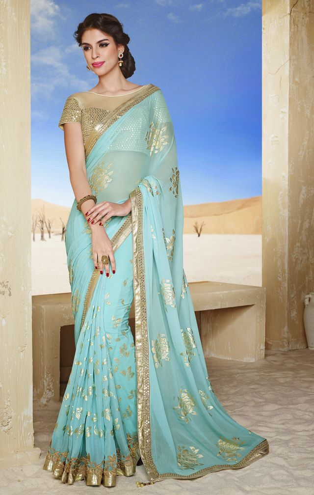 Light blue sari with golden work
