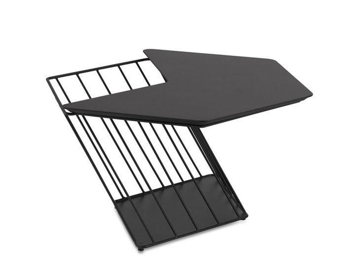 Hexagonal side table with integrated magazine rack hexagon