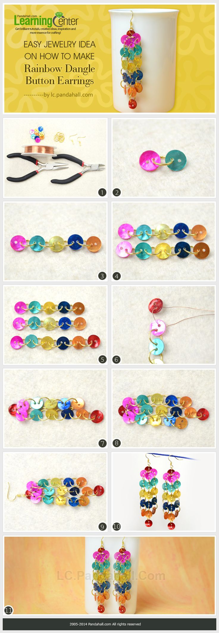 Easy Jewelry Idea on How to Make Rainbow Dangle Button Earrings