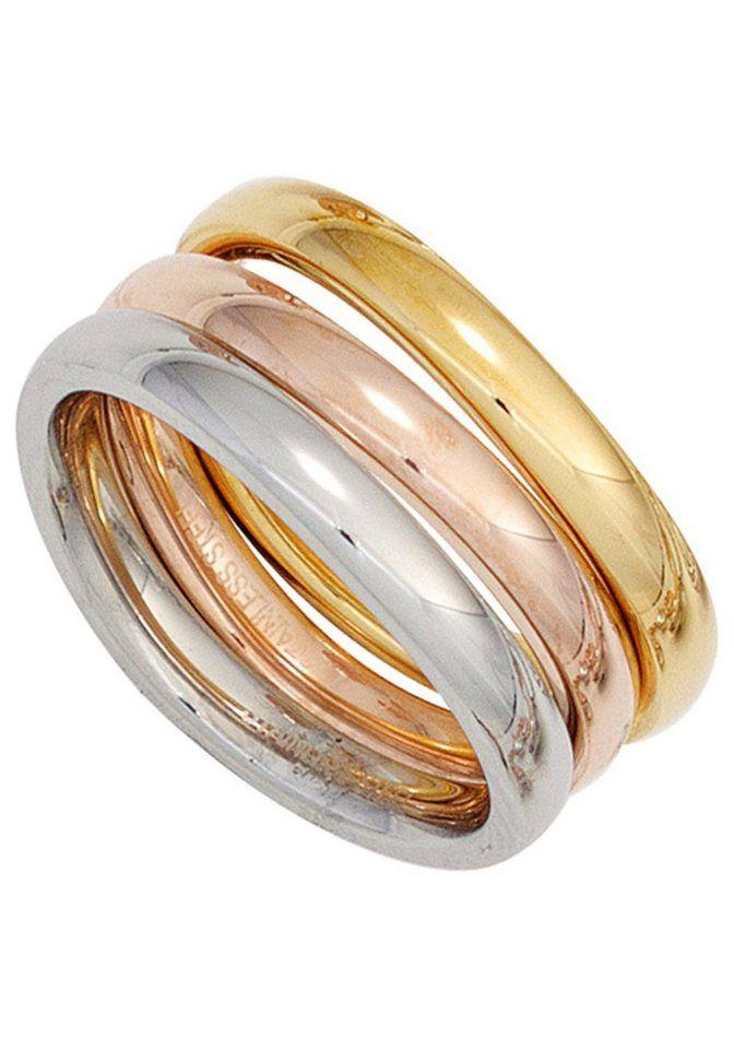 Damenring Herrenring Edelstahl Tricolor Geschenk Silber Gelbgold Roségold NEU