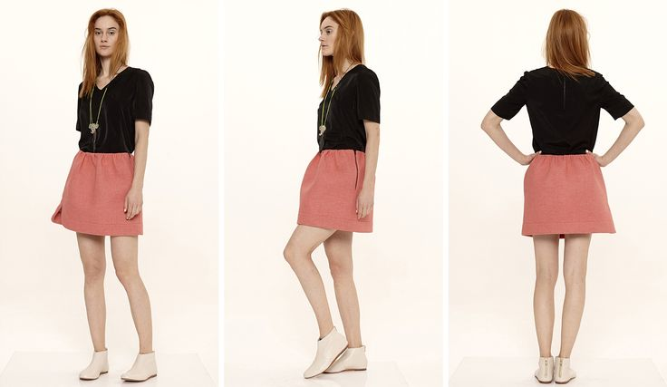 Dori Tomcsanyi soft jersey t-shirt and neoprene skirt with curved hem.  Available from September at the webshop. http://doritomcsanyi.com/