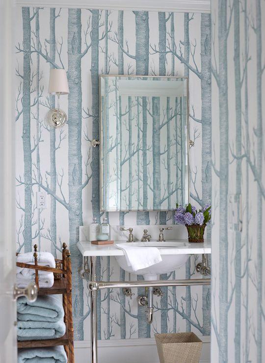 Ashley Whittaker Design - bathrooms - Woods Wallpaper, woods wallpaper, forest wallpaper, blue and white woods wallpaper, blue and white tre...
