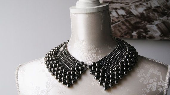 Handmade collar necklace with iron grey silver pearls beads peter pan collar beaded detachable collar women accessories pointed removeable
