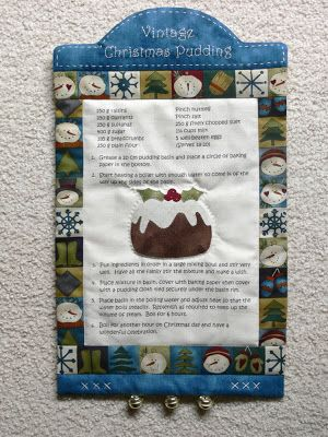 Decorate your kitchen for Christmas with the Vintage Christmas Pudding wall-hanging.  It is practical too, with a wonderful traditional Christmas pudding recipe in the centre. Pattern includes instructions on how to print on fabric from your computer. Val Laird Designs